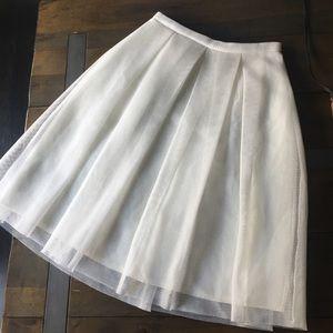 Winter white mesh overlay skirt